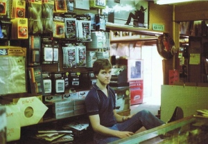 Mike Webber, around 1980, about 16 years old, behind the counter at Capers Corner Records.