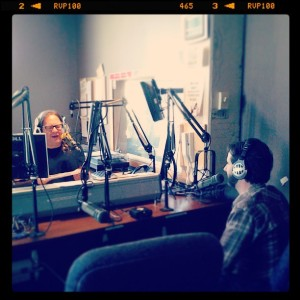 Mark Manning talks with Joel Nanos of Element Recording (Photo by Vi Tran)