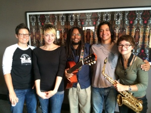 Mount Veritas Orchestra on Wednesday MidDay Medley, September 3, 2014 — with Ami Freeberg, Sarah Preston, Mũcũgũ Wahome, Evan Hoffman and Aryana Nemati.