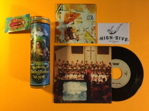 "Ltd. Edition, WMM Yellow Prayer Candle, from Kitschup Creations with Shy Boys  7"" vinyl & The ACB's CD from High Dive Records"