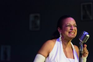 "Nedra Dixon plays Billie Holiday in Spinning Tree Theatre's, ""Lady Day at Emerson's Bar & Grill"" currently running Wednesday through Sundays, through August 28, at The Living Room Theatre, 1818 McGee, KCMO."