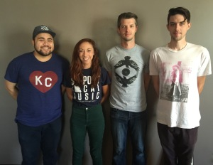 Members of Rachel Mallin and The Wild Type: Justin Walker, Rachel Mallin, Matt Kosinski, and Jesse Bartmess, on the July 27, 2016 edition of Wednesday MidDay Medley on KKFI 90.1 FM. (Not pictured is member Austin Edmisten)
